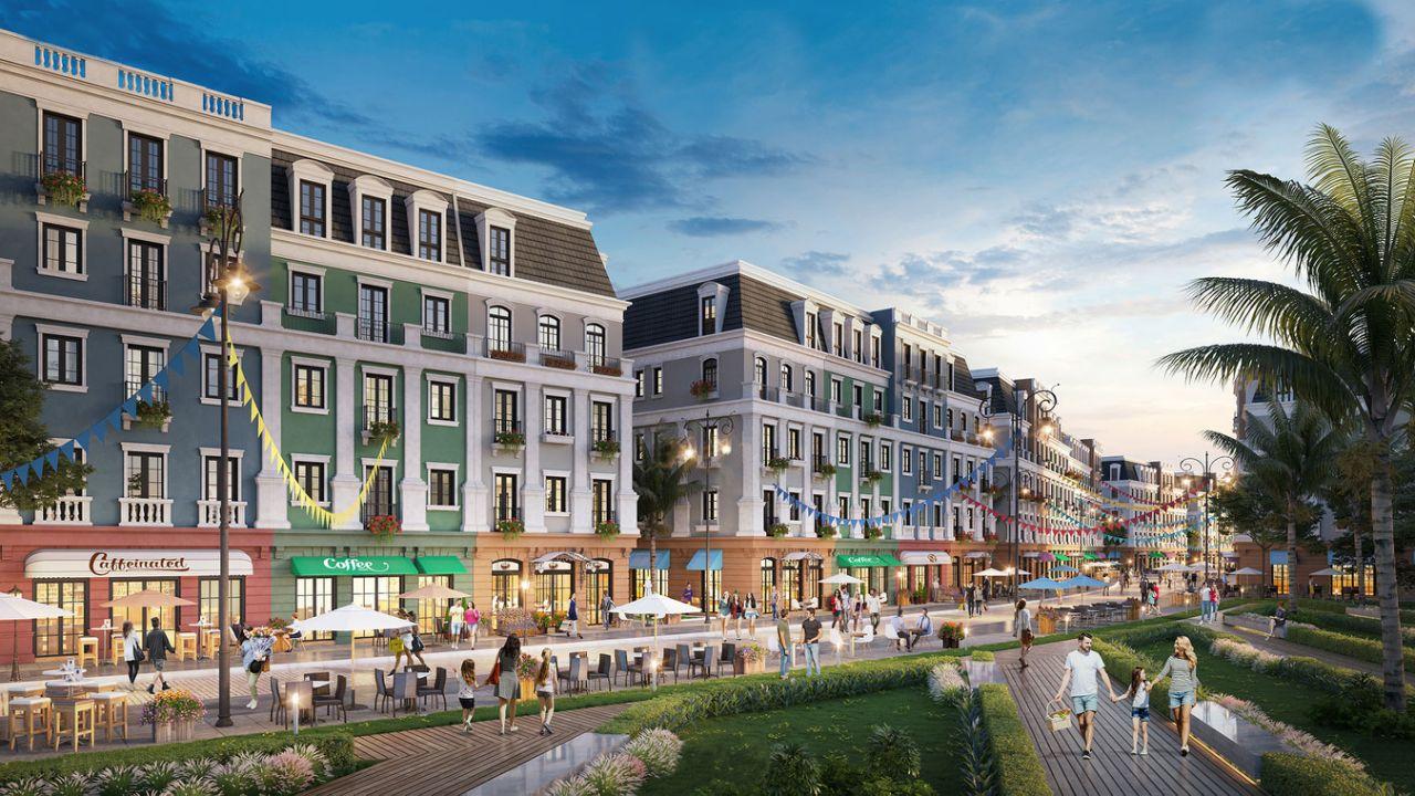 Shophouse Bãi Kem được thiết kế theo phong cách tân cổ điển Châu Âu, vơi những gam màu đồng điệu với kiến trúc của Khách sạn nổi tiếng JW Marriott bên cạnh